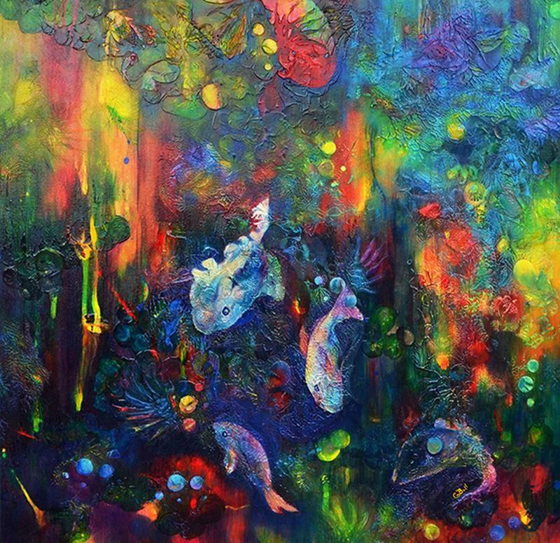 Claire Bull - Under the Sea - 30x30 - Acrylic on Canvas