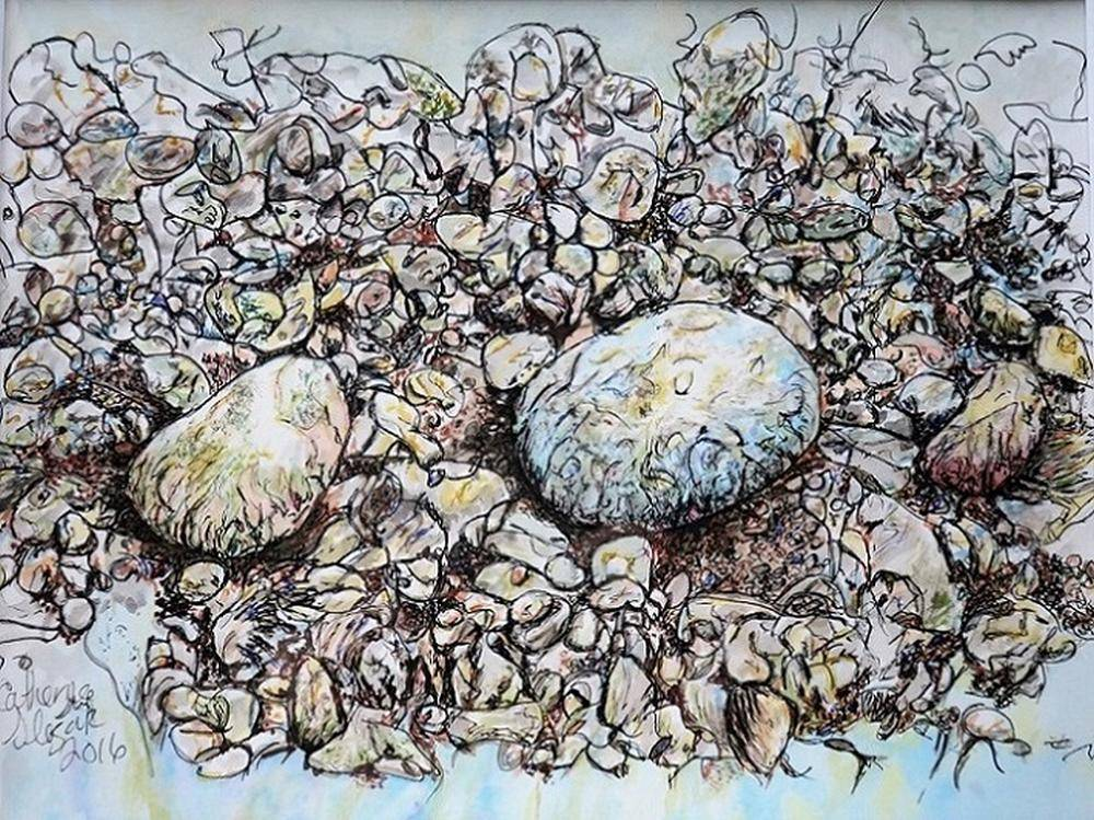 Catherine Slezak - Stoned - 8x10 - Watercolour & Ink on Paper