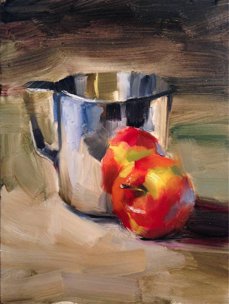 Nelson Cheng - Apple and Creamer - 12x9 - Oil